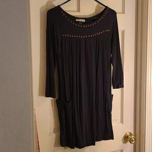Navy embellished dress with pocket!